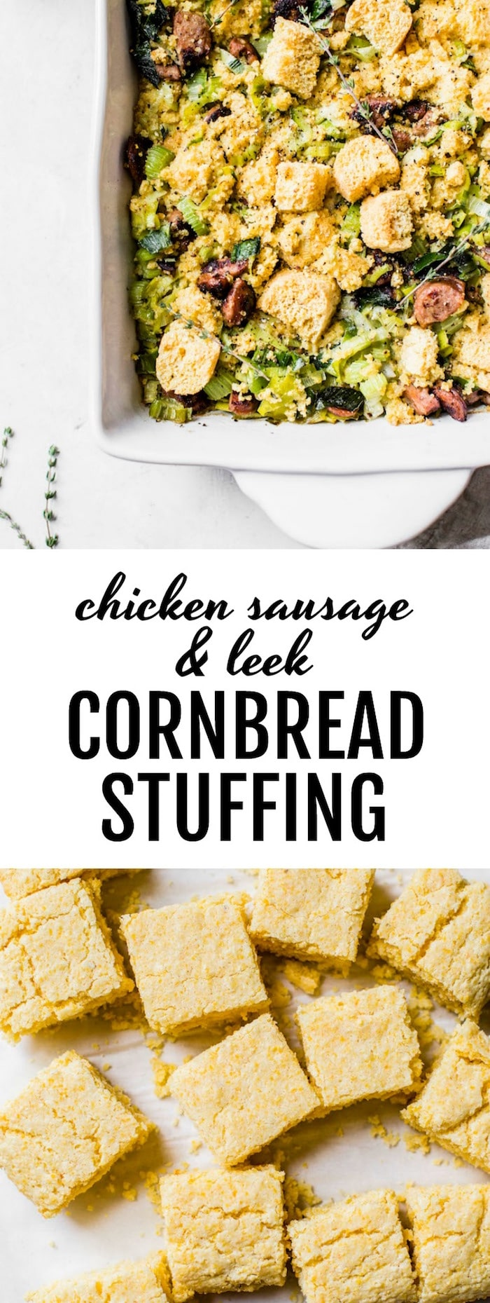 Chicken Sausage Leek Cornbread Stuffing -- perfect for the holidays! | thealmondeater.com