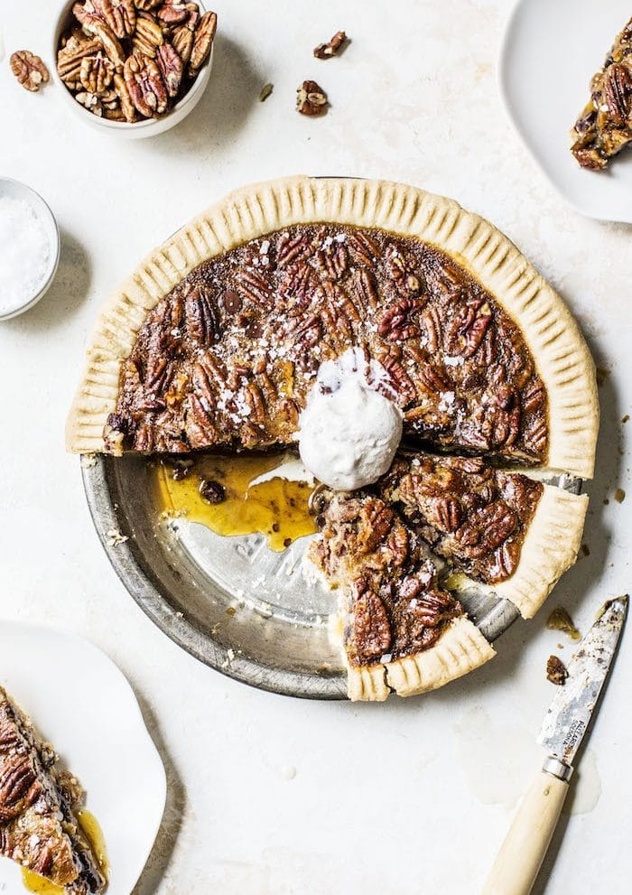 Chocolate Chip Pecan Pie -- a pecan pie filled with chocolate chips and HONEY instead of corn syrup | thealmondeater.com
