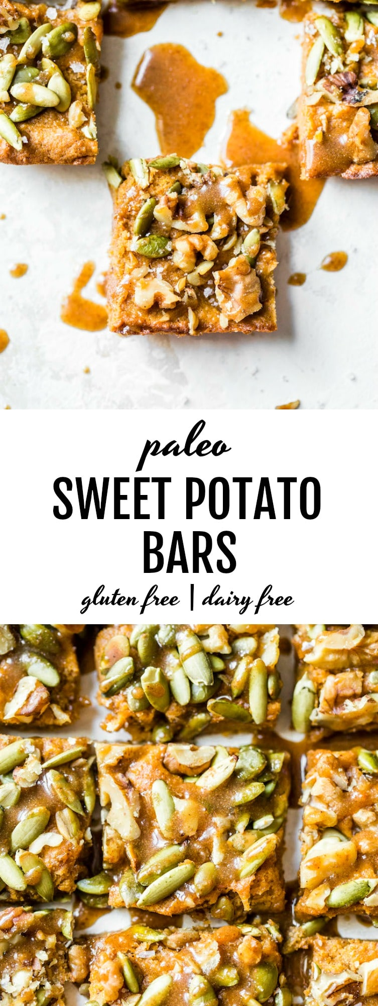 Paleo Sweet Potato Bars made with mashed sweet potato, almond flour and topped with a sweet maple almond glaze #paleo | thealmondeater.com