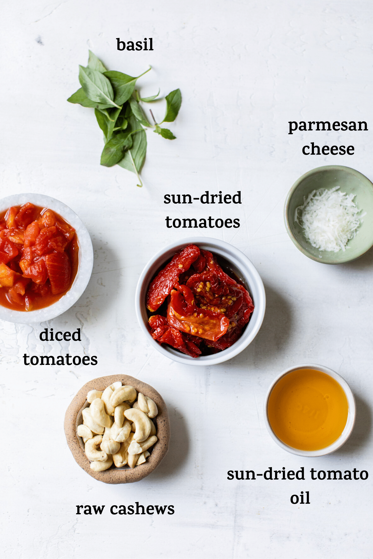 ingredients to make pesto with text overlay