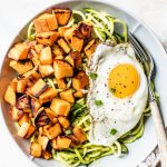 zucchini, sweet potato and a fried egg