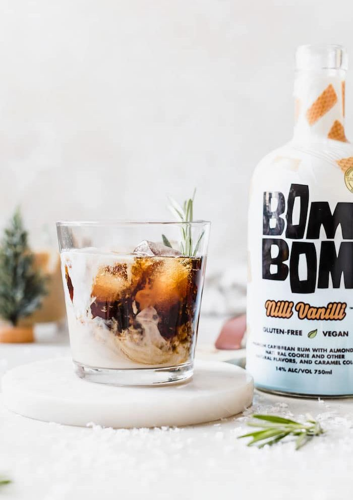 Rosemary Vanilla Cold Brew Cocktail made with rum and dairy free milk! | thealmondeater.com
