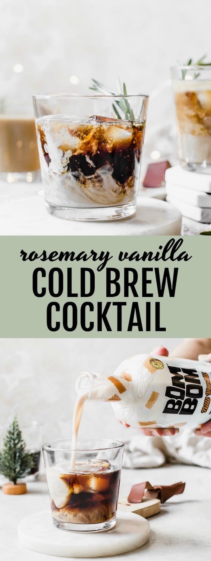 Rosemary Vanilla Cold Brew Cocktail - a rum-based cocktail made with cold brew, vanilla milk and rosemary syrup #vegan | thealmondeater.com