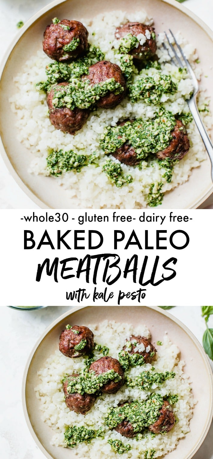A bowl of cauliflower rice topped with meatballs and pesto