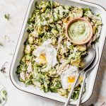Chicken Brussels Sprouts Salad with avocado dressing #whole30 | thealmondeater.com