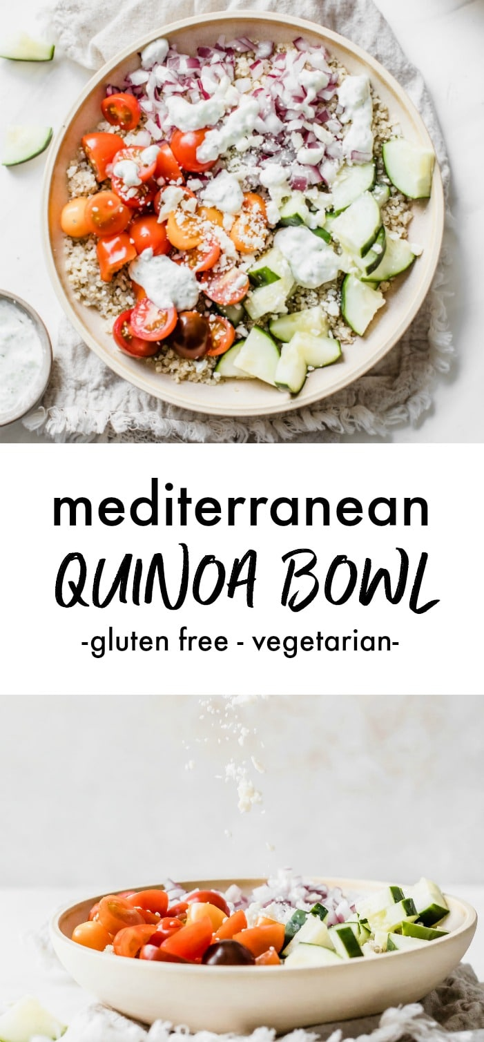 A quinoa bowl filled with veggies and feta cheese.
