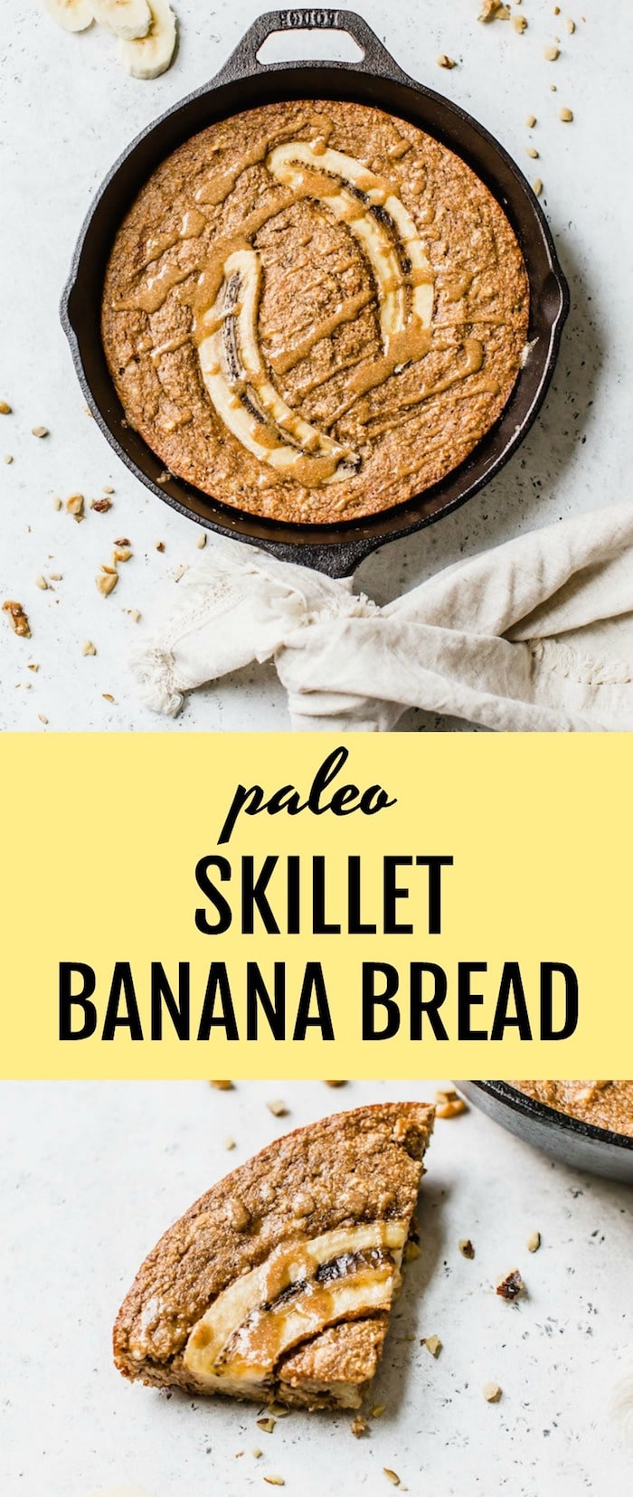 Paleo Skillet Banana Bread- banana bread that's gluten free, refined sugar free and better for you with all the tasty banana flavor you're craving | thealmondeater.com