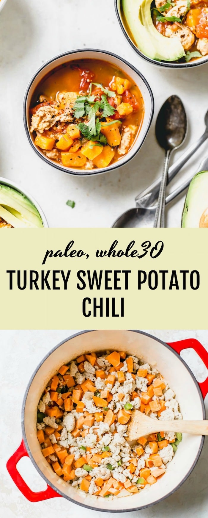 Turkey Sweet Potato Chili - a healthy 30 minute #whole30 meal that uses sweet potato in place of beans | thealmondeater.com