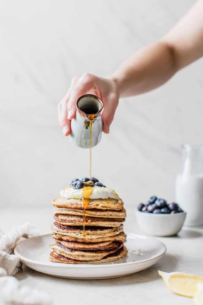 Blueberry Chia Seed Pancakes | thealmondeater.com