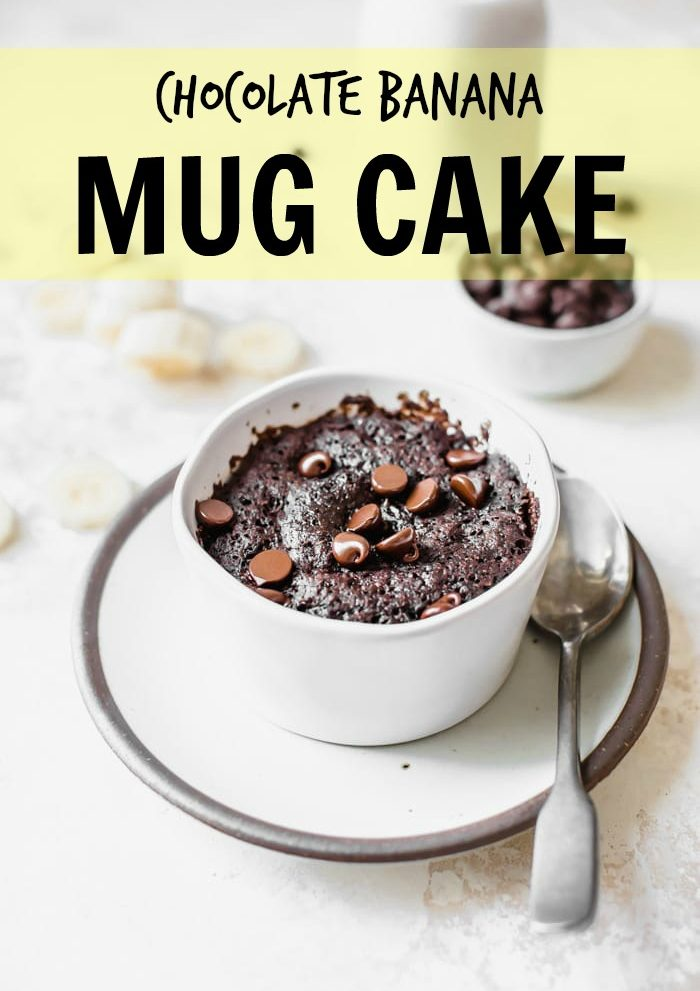 Chocolate Banana Mug Cake made in under 5 minutes! | thealmondeater.com