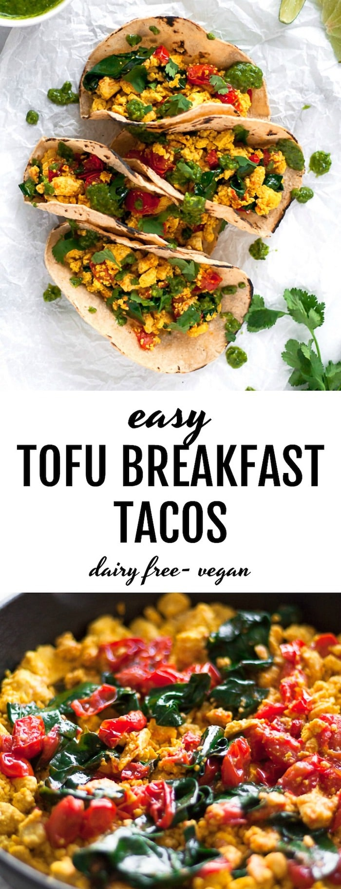 Easy Tofu Breakfast Tacos made with a simple and tasty tofu scramble #vegan | thealmondeater.com