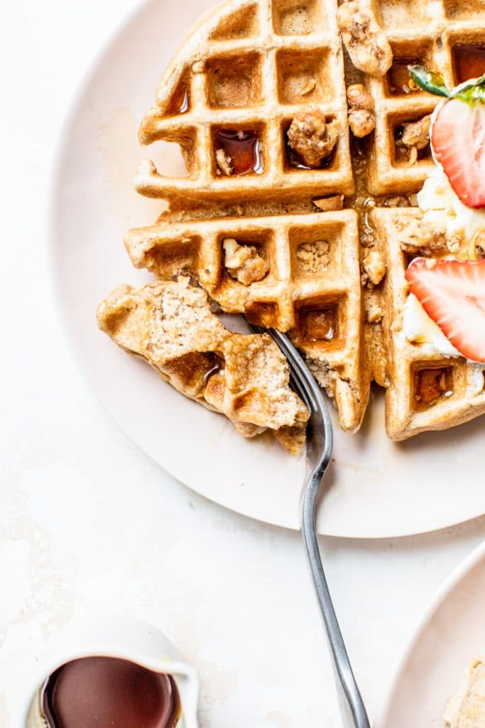 Easy Whole Wheat Waffle Recipe | thealmondeater.com