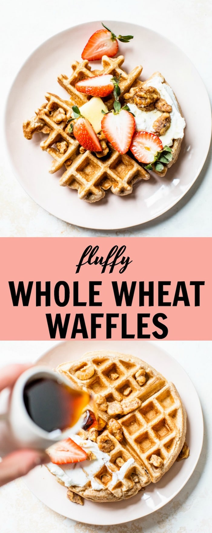 Fluffy Whole Wheat Waffle recipe made with whole wheat flour, coconut oil and maple syrup for a healthier breakfast waffle | thealmondeater.com