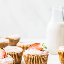 Gluten Free Strawberry Vanilla Cupcakes | thealmondeater.com