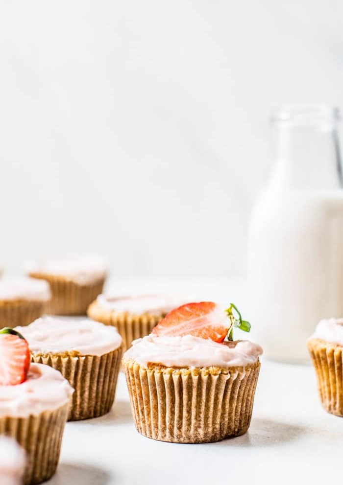 Gluten Free Strawberry Vanilla Cupcakes | thealmondeater.com