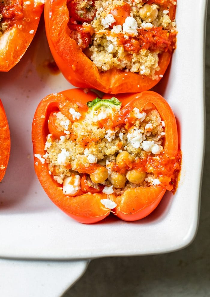 bell peppers stuffed with quinoa and chickpeas