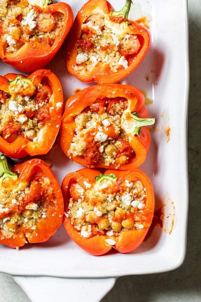 baking dish filled with stuffed peppers