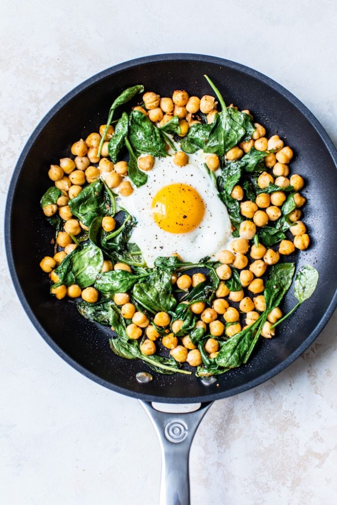 One Skillet Egg Chickpea Breakfast | thealmondeater.com
