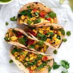 Easy Tofu Breakfast Tacos made with delicious tofu scramble | thealmondeater.com