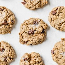 Peanut Butter Chickpea Cookies using actual chickpeas and loaded with chocolate chips!   thealmondeater.com