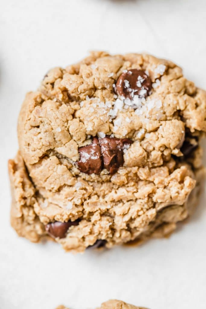 Peanut Butter Chickpea Cookies made with actual chickpeas and loaded with chocolate chips #vegan