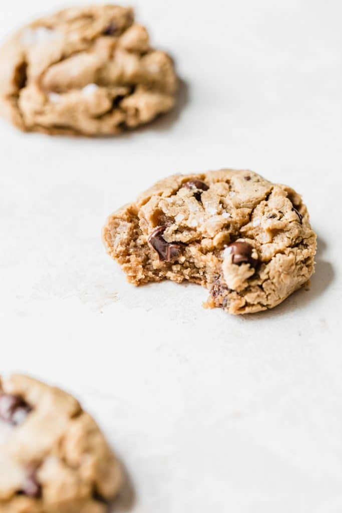 chickpea cookies loaded with peanut butter and chocolate chips | thealmondeater.com