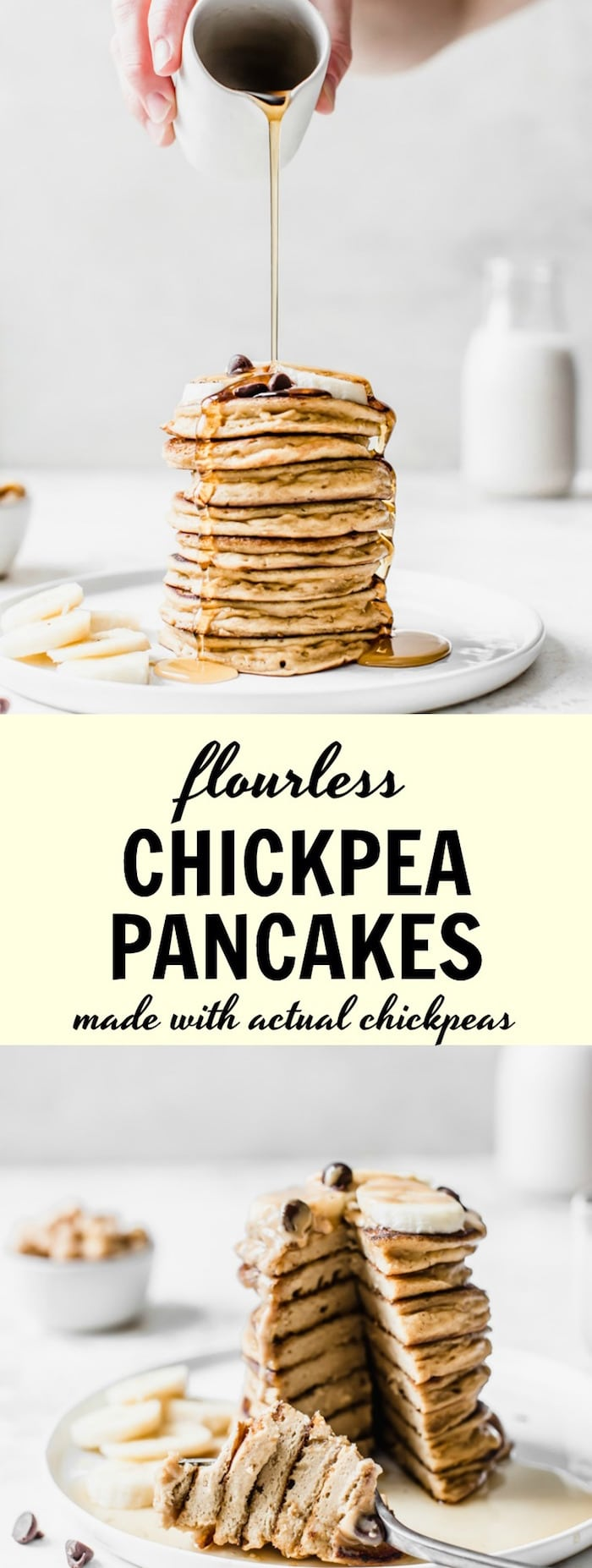 Flourless Chickpea Pancakes made with actual chickpeas for an easy, protein-packed breakfast | thealmondeater.com