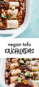 Casserole pan with tofu enchiladas