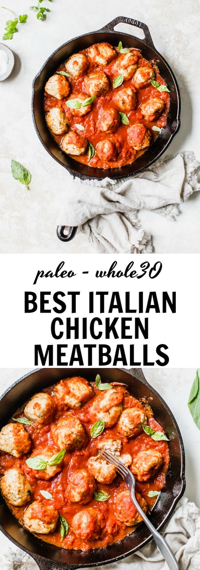 the BEST Italian Chicken Meatballs that just so happen to be #paleo and #whole30 friendly | thealmondeater.com