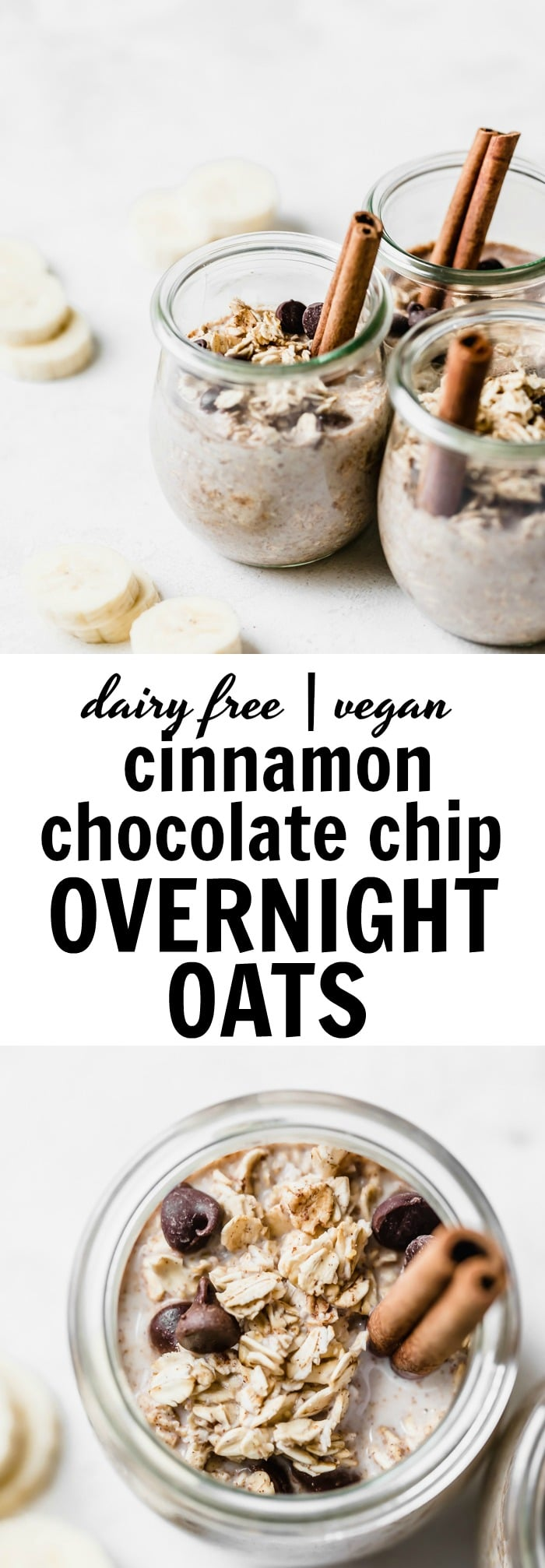 Chocolate Chip Overnight Oats made with cinnamon for a quick, tasty and healthy #breakfast