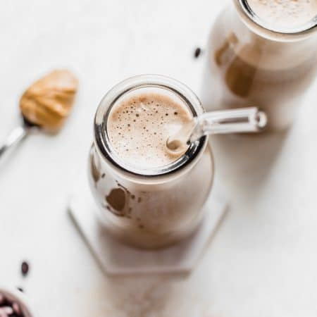 Cold Brew Protein Smoothie made with cold brew coffee, nut butter and protein powder   thealmondeater.com