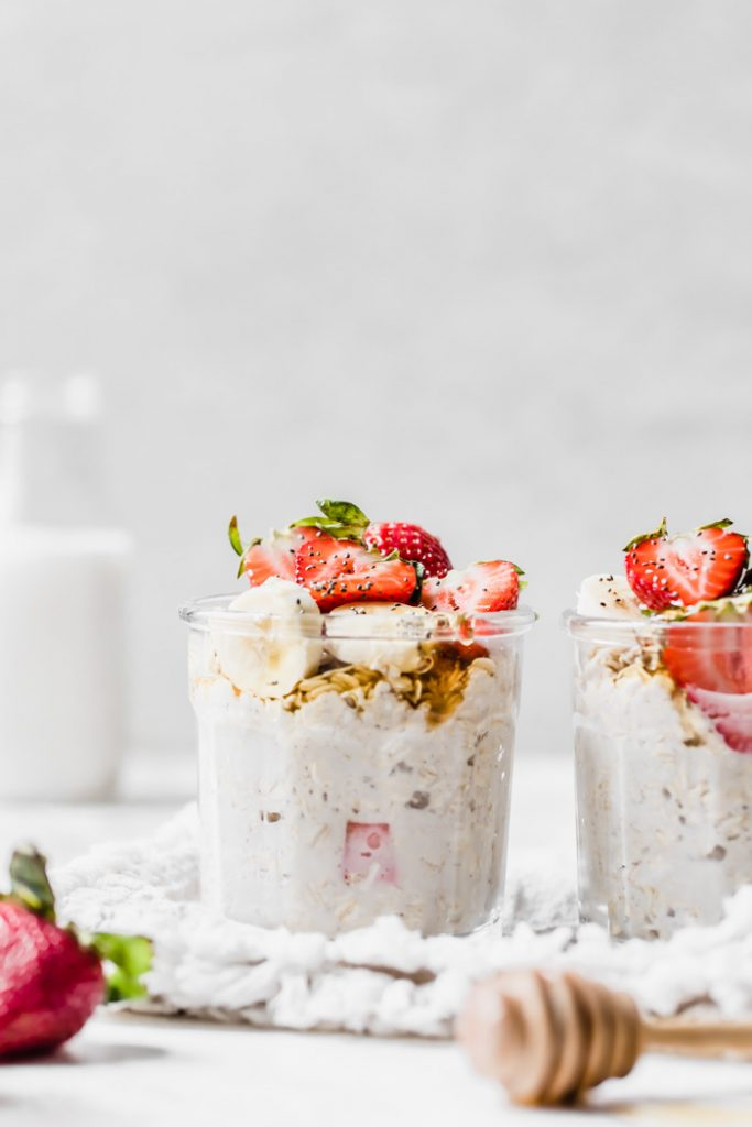 overnight oats topped with strawberries and banana