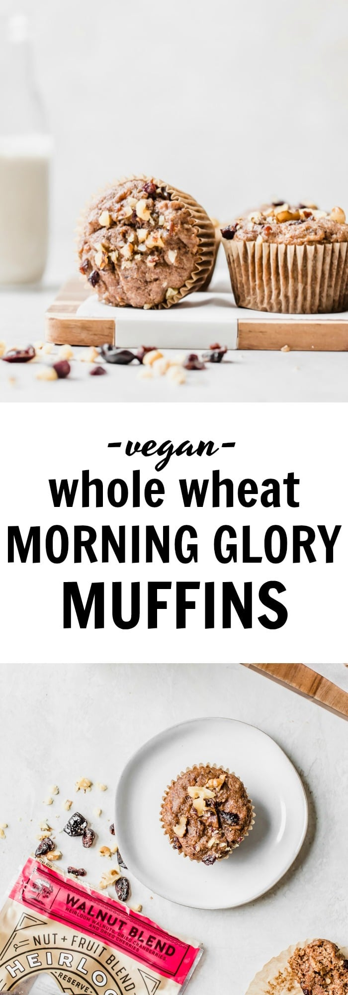 #vegan Morning Glory Muffins made with whole wheat flour for a HEALTHY breakfast muffin   thealmondeater.com