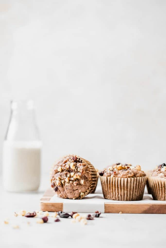 whole wheat muffins loaded with apples, carrots and walnuts