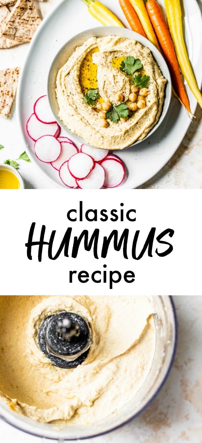 A collage of hummus in a bowl and hummus in a food processor