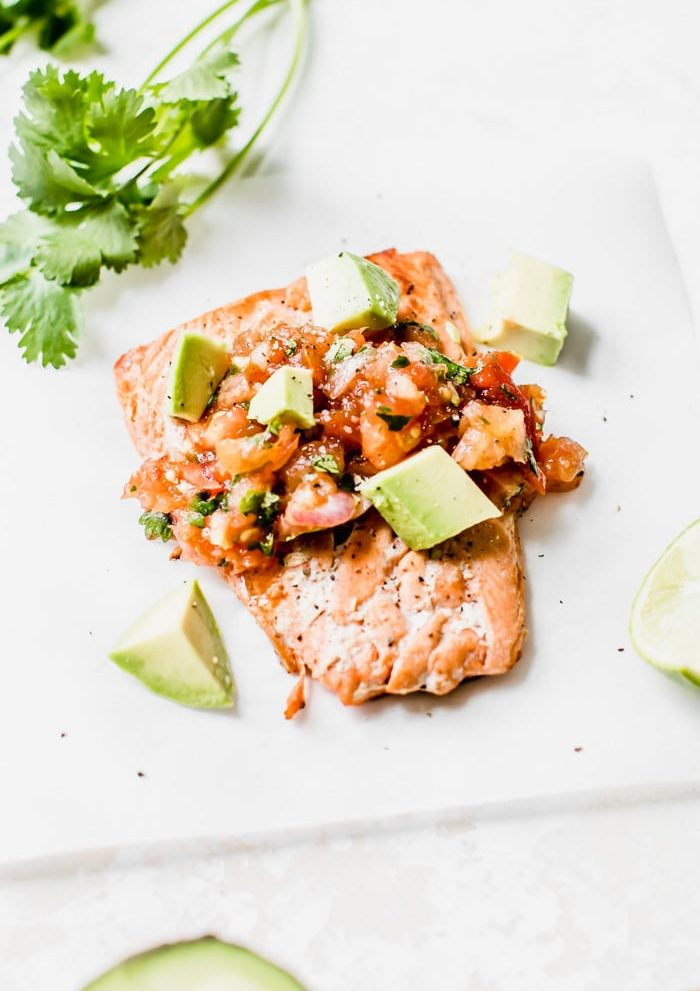 seared salmon topped with salsa