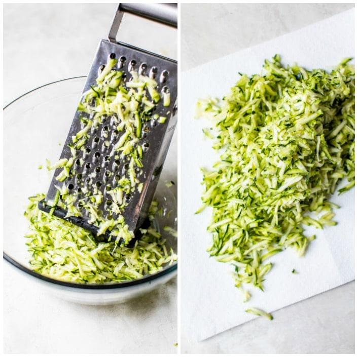 grated zucchini in a bowl