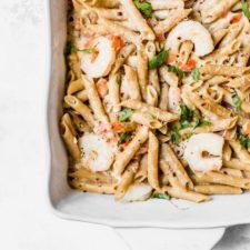 Shrimp alfredo in a baking dish