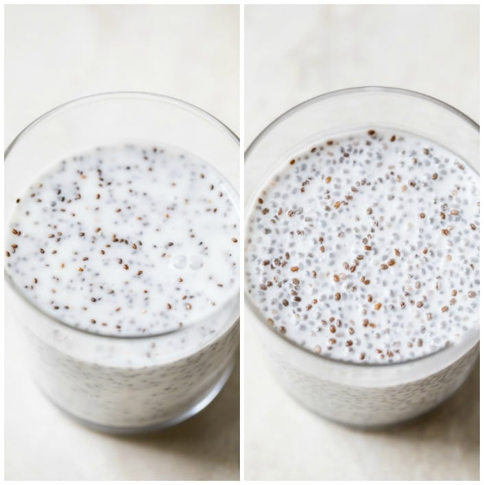 milk and chia seeds in a glass
