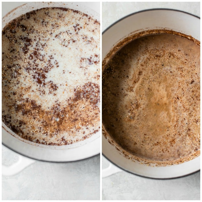 quinoa and milk in a dutch oven