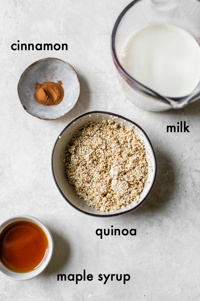 quinoa bowl ingredients on a table with text overlay