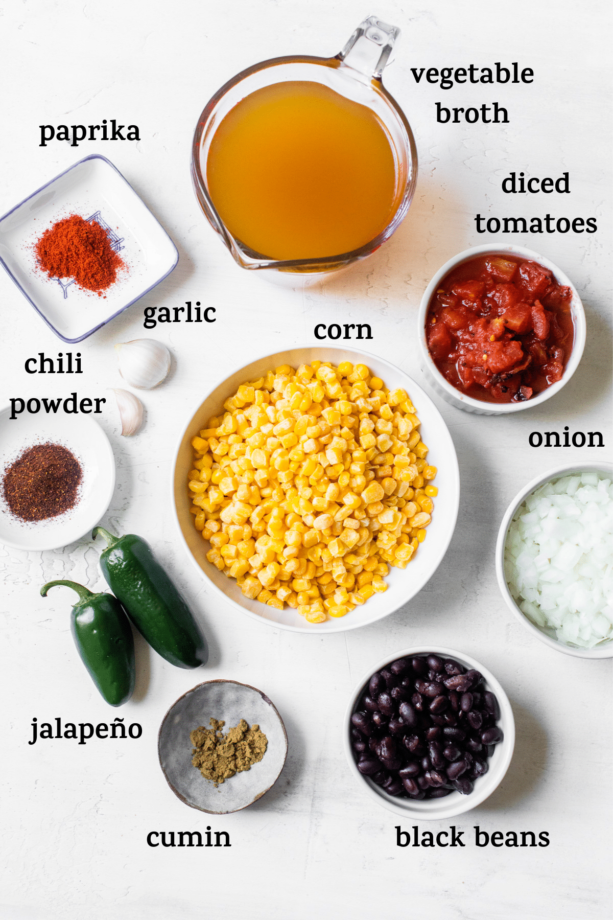 ingredients to make soup with text overlay