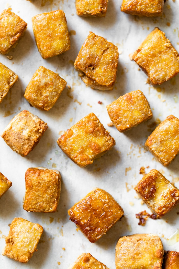 tofu on a baking sheet