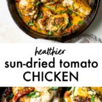 A skillet with chicken thighs topped with a sun-dried tomato sauce and fresh basil