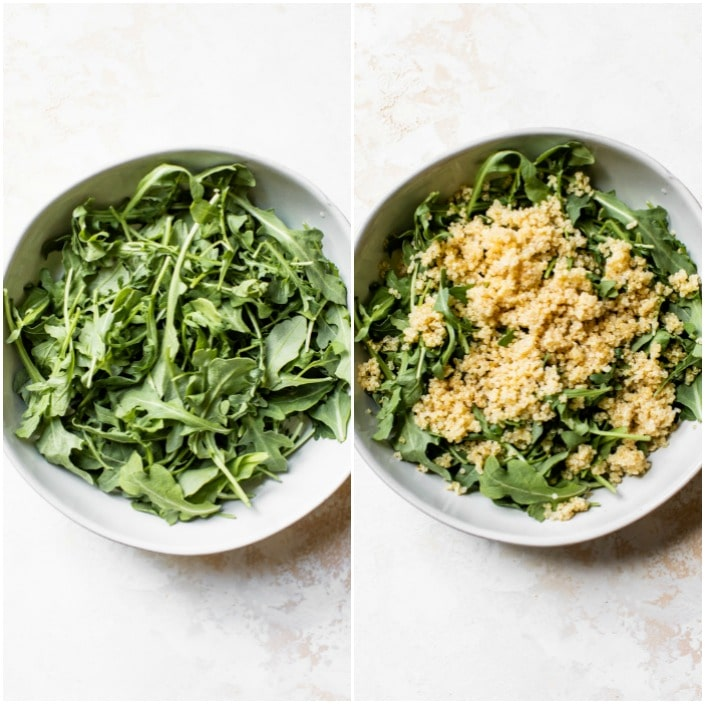 bowl of arugula topped with quinoa