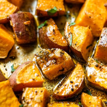 roasted sweet potatoes with brown butter and garlic