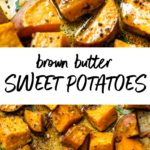 brown butter roasted sweet potatoes on a baking sheet