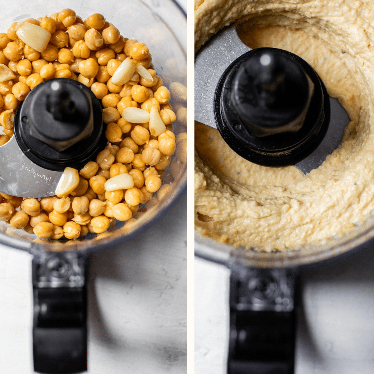 chickpeas and hummus in a food processor