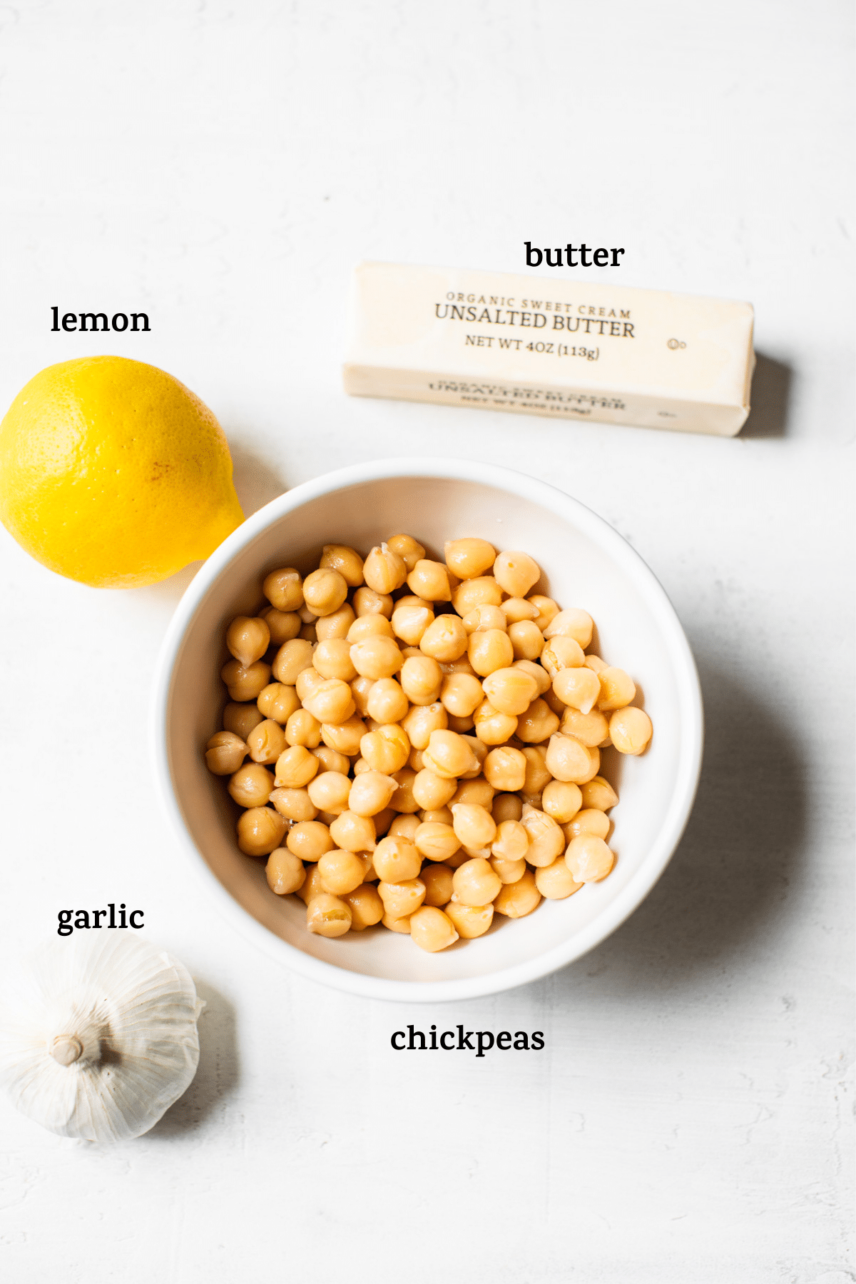 hummus ingredients with text overlay