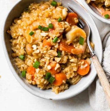 stir fry made with rice and shrimp